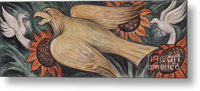 Detroit Industry    Detail From The West Wall Metal Print by Diego Rivera