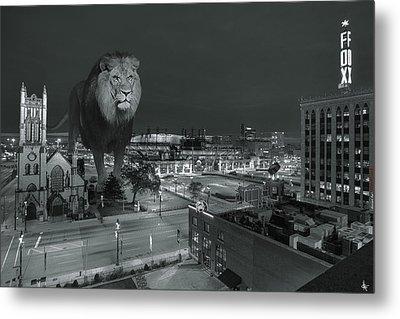 Detroit Lions Metal Print by Nicholas  Grunas