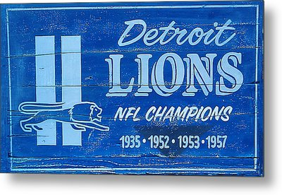 Detroit Lions Sign Metal Print by Bill Cannon