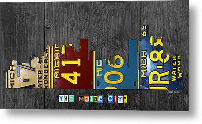 Detroit Michigan City Skyline License Plate Art The Motor City Metal Print