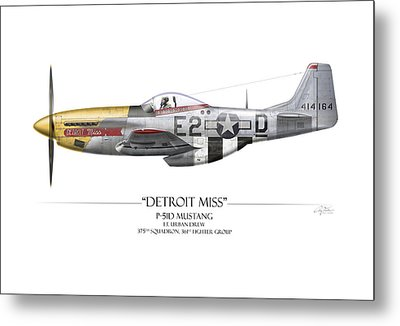 Detroit Miss P-51d Mustang - White Background Metal Print by Craig Tinder