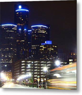 Detroit Night Scape Metal Print by Rexford L Powell