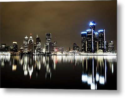 Detroit Night Skyline Metal Print by Alanna Pfeffer