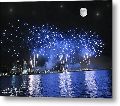 Detroit River Fireworks Metal Print by Michael Rucker