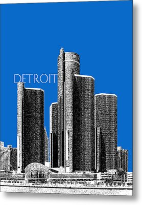 Detroit Skyline 1 - Blue Metal Print
