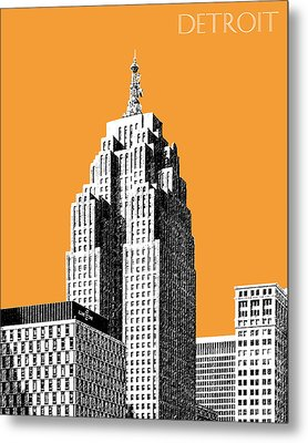 Detroit Skyline 2 - Orange Metal Print