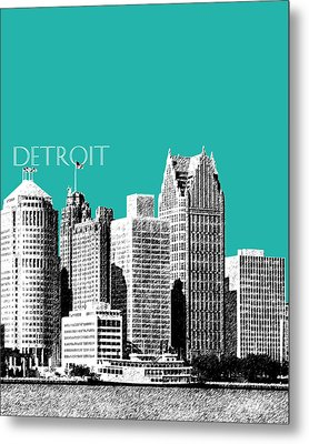Detroit Skyline 3 - Teal Metal Print by DB Artist