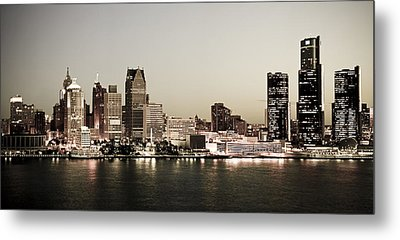 Detroit Skyline At Night Metal Print by Levin Rodriguez
