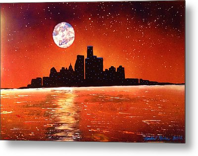 Metal Print featuring the painting Detroit Skyline by Michael Rucker