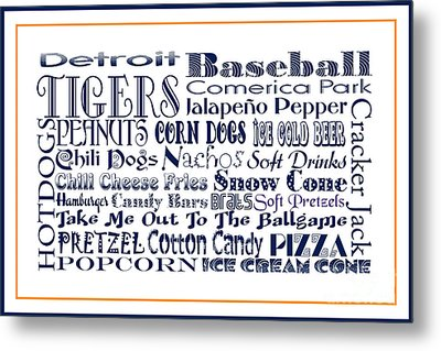 Detroit Tigers Baseball Game Day Food 3 Metal Print by Andee Design