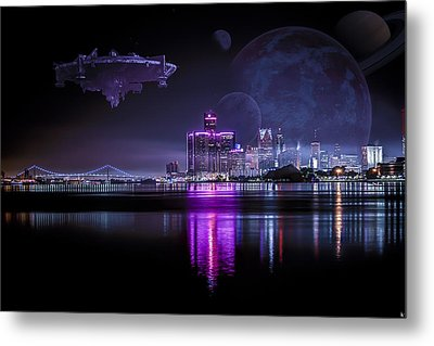 Metal Print featuring the photograph Detroit Worlds by Nicholas  Grunas