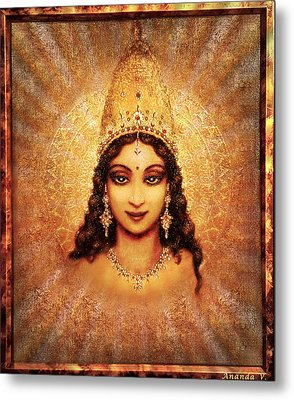 Metal Print featuring the mixed media Devi Darshan by Ananda Vdovic