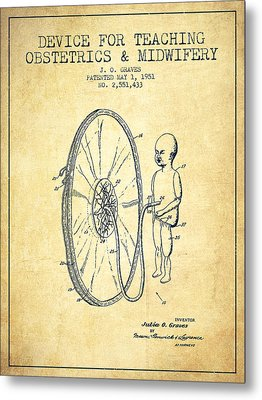 Device For Teaching Obstetrics And Midwifery Patent From 1951 - Vi Metal Print by Aged Pixel