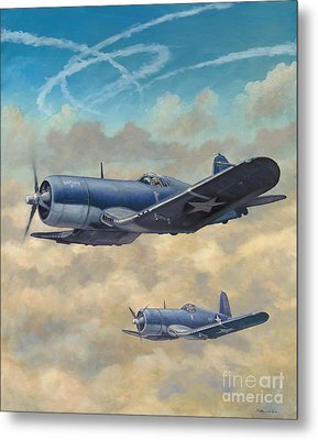 Metal Print featuring the painting Devil Dog Fight by Stephen Roberson