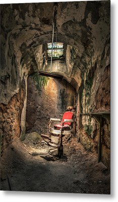 Devils Haircut - Barbers Chair In Cell Block 10 Metal Print by Gary Heller