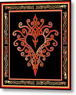 Metal Print featuring the digital art Devil's Heart by Vagabond Folk Art - Virginia Vivier