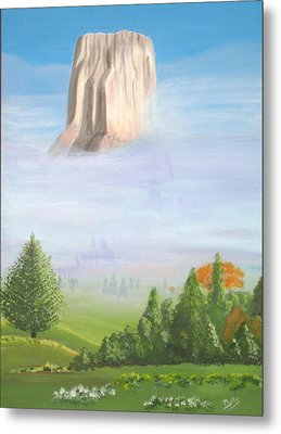 Metal Print featuring the painting Devil's Tower  by Phyllis Kaltenbach