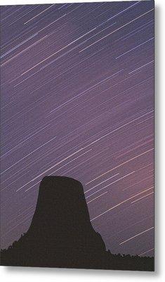 Devils Tower Star Trails Metal Print