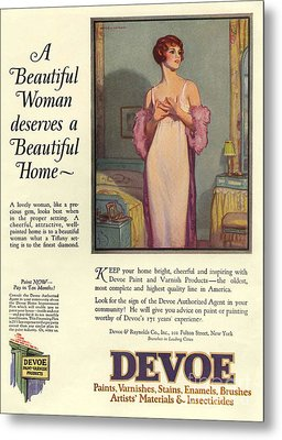 Devoe Varnish 1920s Usa Cc Portraits Metal Print by The Advertising Archives