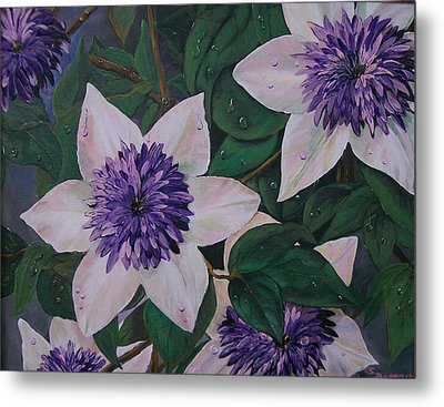 Metal Print featuring the painting Clematis After The Rain by Sharon Duguay