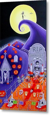 Metal Print featuring the painting Dia De Los Muertos Jack Skellington by Evangelina Portillo