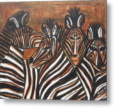 Zebra Bar Crowd Metal Print