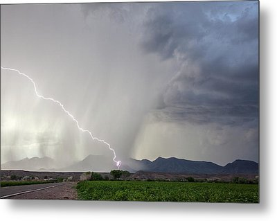 Diagonal Lightning Strike Metal Print