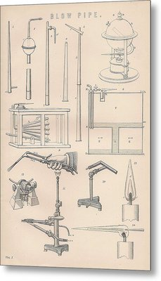 Diagrams And Parts Of A Blow Pipe Metal Print by Anon