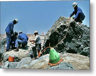 Diamond Miners With Explosives Metal Print by Patrick Landmann