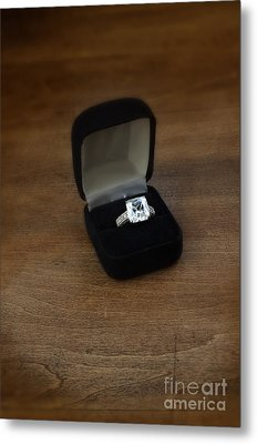Diamond Ring In Box On Table Metal Print by Jill Battaglia