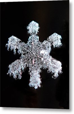 Metal Print featuring the photograph Diamond Snowflake by Lorella  Schoales