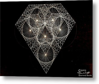 Metal Print featuring the drawing Diamond White And Black by Jason Padgett