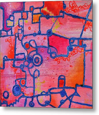 Dichotomy  Original Abstract Oil Painting By Regina Valluzzi Metal Print by Regina Valluzzi