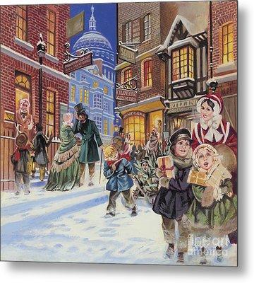 Dickensian Christmas Scene Metal Print