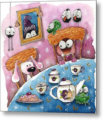 Did You Invite The Witch To Tea Metal Print by Lucia Stewart