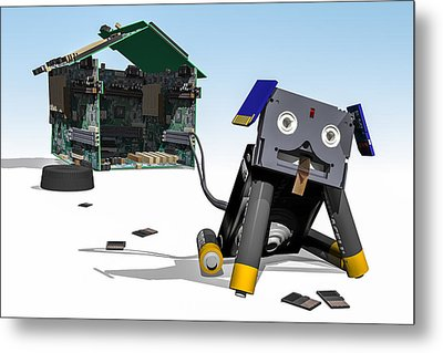 Didgie The Digital Dog Metal Print by Randy Turnbow