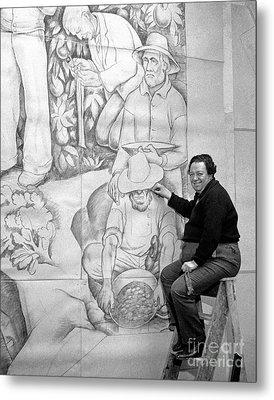 Diego Rivera Muralist 1930 Metal Print by Martin Konopacki Restoration