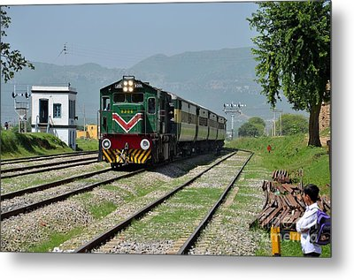 Metal Print featuring the photograph Diesel Electric Locomotive Speeds Past Student by Imran Ahmed