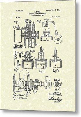 Diesel Engine 1898 Patent Art Metal Print