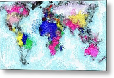 Digital Art Map Of The World Metal Print by Georgi Dimitrov