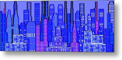 Digital Circuit Board Cityscape 5c - Blue Haze Metal Print by Luis Fournier