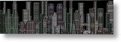 Digital Circuit Board Cityscape 5d - Blacktops Metal Print by Luis Fournier