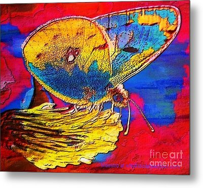 Digital Mixed Media Butterfly Metal Print by Maestro