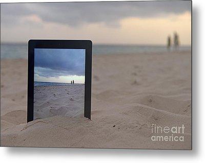 Digital Tablet In Sand On Beach Metal Print by Sami Sarkis