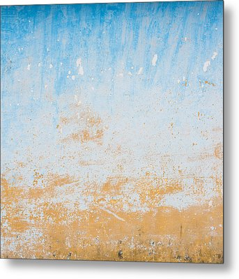 Dilapidated Beige And Blue Wall Texture Metal Print