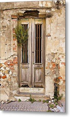 Dilapidated Brown Wood Door Of Portugal Metal Print by David Letts