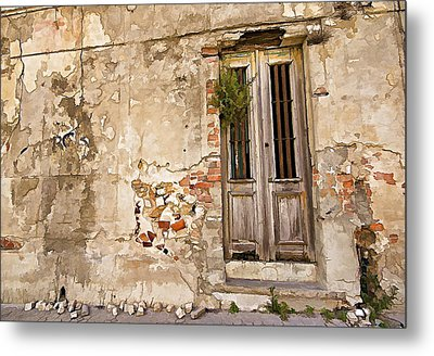 Dilapidated Brown Wood Door Of Portugal II Metal Print by David Letts