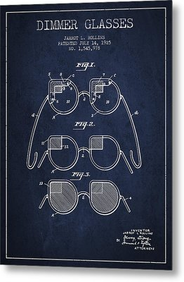 Dimmer Glasses Patent From 1925 - Navy Blue Metal Print