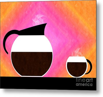 Diner Coffee Pot And Cup Sorbet Metal Print by Andee Design