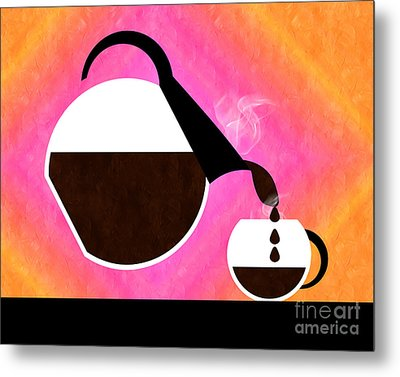 Diner Coffee Pot And Cup Sorbet Pouring Metal Print by Andee Design